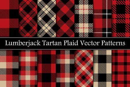 Set Lumberjack Scottish Plaid, Tartan Seamless Vector Pattern. Red, Black and Camel Beige Colors