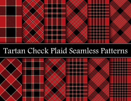 Set Red, Camel Beige and Black Tartan Plaid Scottish Seamless Pattern. Texture from tartan, plaid, tablecloths, shirts, clothes, dresses, bedding, blankets and other textile. Intersecting Bands From One To Six. Vettoriali