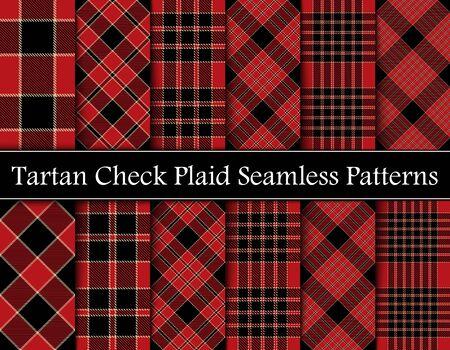 Set Rot, Camel Beige und Schwarz Tartan Plaid Scottish Seamless Pattern. Textur aus Tartan, Plaid, Tischdecken, Hemden, Kleidung, Kleidern, Bettwäsche, Decken und anderen Textilien. Sich überschneidende Bänder von eins bis sechs. Vektorgrafik