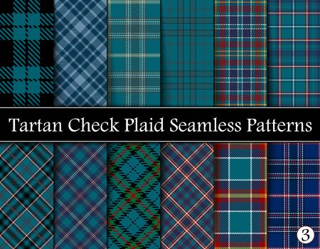 Set Tartan Plaid Scottish Seamless Pattern. Texture from tartan, plaid, tablecloths, shirts, clothes, dresses, bedding, blankets and other textile. Vol 03