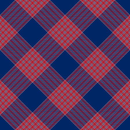 Patriotic Tartan  of White , Blue, Red Vector Seamless Patterns. Suitable for Elections or 4th of July.