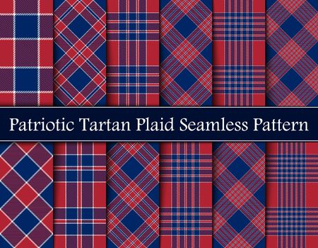 Set  Patriotic Tartan  of White, Blue and Red Vector Seamless Patterns. Suitable for Elections or 4th of July. Vectores