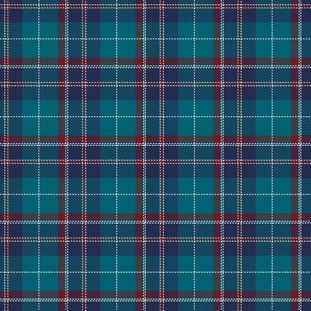 Dark Turquoise, Red and White  Tartan Plaid Scottish Seamless Pattern. Texture from tartan, plaid, tablecloths, shirts, clothes, dresses, bedding, blankets and other textile. Ilustração