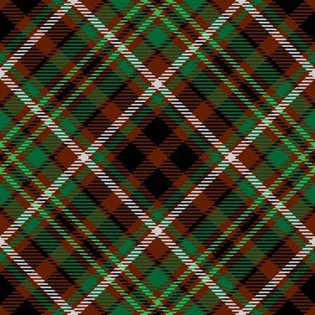 Patrón sin costuras escocés de tela escocesa de tartán verde marrón. Textura de tartán, cuadros escoceses, manteles, camisas, ropa, vestidos, ropa de cama, mantas y otros textiles Ilustración de vector