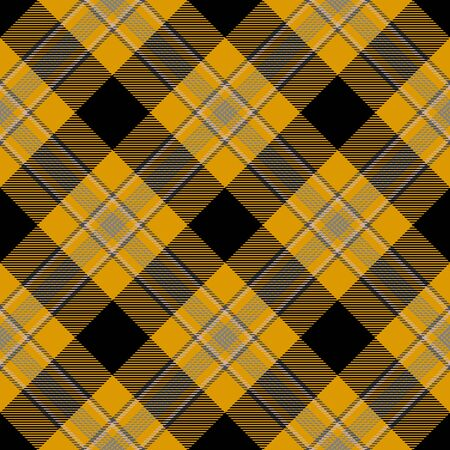 Yellow Black Tartan Plaid Scottish Seamless Pattern. Texture from tartan, plaid, tablecloths, shirts, clothes, dresses, bedding, blankets and other textile Ilustrace