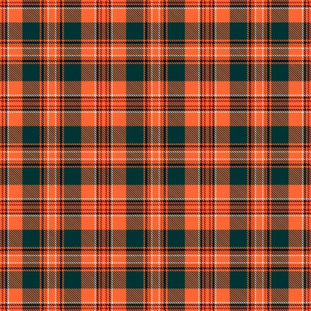 Orange and Green Tartan Plaid Scottish Seamless Pattern. Texture from tartan, plaid, tablecloths, shirts, clothes, dresses, bedding, blankets and other textile. 일러스트