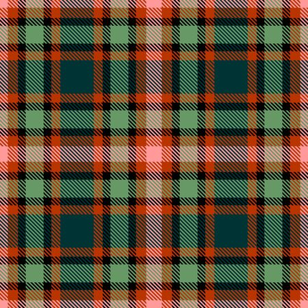 Green,Orange,Pink and Black Tartan Plaid Scottish Seamless Pattern. Texture from tartan, plaid, tablecloths, shirts, clothes, dresses, bedding, blankets and other textile.