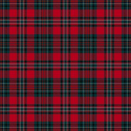 Patrón sin costuras escocés de cuadros escoceses de tartán rojo y verde. Textura de tartán, cuadros escoceses, manteles, camisas, ropa, vestidos, ropa de cama, mantas y otros textiles. Ilustración de vector