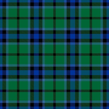 Green,Blue and Black Tartan Plaid Scottish Seamless Pattern. Texture from tartan, plaid, tablecloths, shirts, clothes, dresses, bedding, blankets and other textile. Vector Illustration