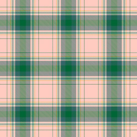 Green and Beige Tartan Plaid Scottish Seamless Pattern. Texture from tartan, plaid, tablecloths, shirts, clothes, dresses, bedding, blankets and other textile. Ilustração