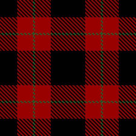 Red,Black and Green Tartan Plaid Scottish Seamless Pattern. Texture from tartan, plaid, tablecloths, shirts, clothes, dresses, bedding, blankets and other textile. Ilustração