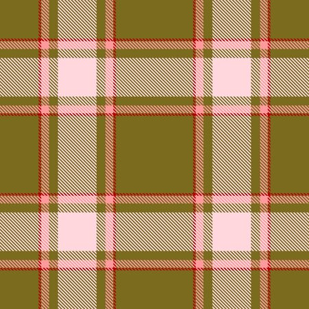 Green,Beige,Red and Pink Tartan Plaid Scottish Seamless Pattern. Texture from tartan, plaid, tablecloths, shirts, clothes, dresses, bedding, blankets and other textile. Ilustração
