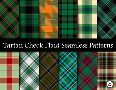 Set Tartan Plaid Scottish Seamless Pattern. Texture from tartan, plaid, tablecloths, shirts, clothes, dresses, bedding, blankets and other textile.