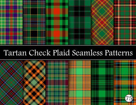 Set Tartan Plaid Scottish Seamless Pattern. Texture from tartan, plaid, tablecloths, shirts, clothes, dresses, bedding, blankets and other textile. Vol 75 Çizim