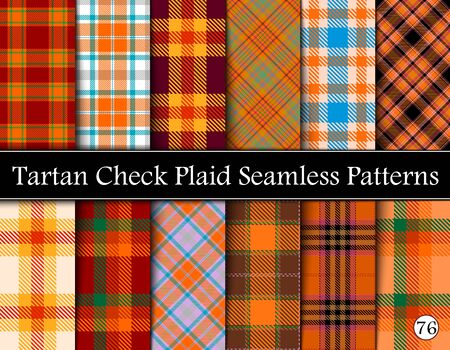 Set Tartan Plaid Scottish Seamless Pattern. Texture from tartan, plaid, tablecloths, shirts, clothes, dresses, bedding, blankets and other textile. Vol 76