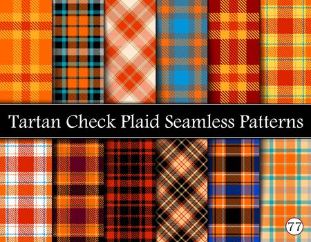 Set Tartan Plaid Scottish Seamless Pattern. Texture from tartan, plaid, tablecloths, shirts, clothes, dresses, bedding, blankets and other textile. Vol 77