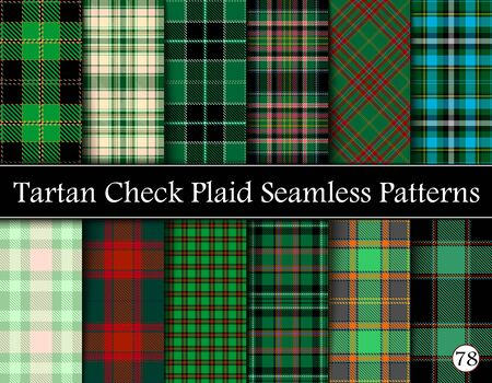 Set Tartan Plaid Scottish Seamless Pattern. Texture from tartan, plaid, tablecloths, shirts, clothes, dresses, bedding, blankets and other textile. Vol 78