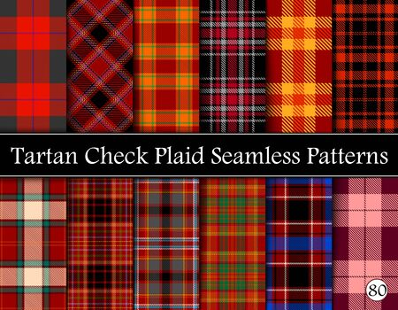 Set Tartan Plaid Scottish Seamless Pattern. Texture from tartan, plaid, tablecloths, shirts, clothes, dresses, bedding, blankets and other textile. Vol 80