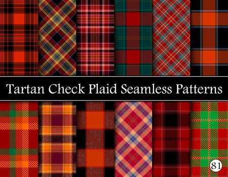 Set Tartan Plaid Scottish Seamless Pattern. Texture from tartan, plaid, tablecloths, shirts, clothes, dresses, bedding, blankets and other textile. Vol 81
