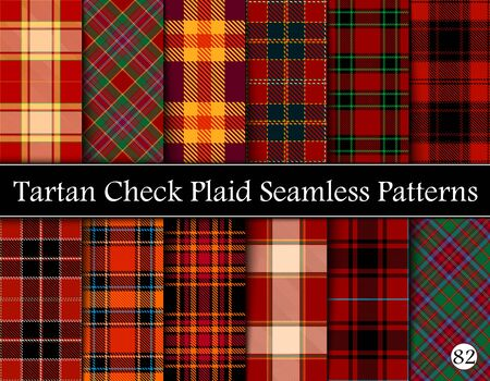 Set Tartan Plaid Scottish Seamless Pattern. Texture from tartan, plaid, tablecloths, shirts, clothes, dresses, bedding, blankets and other textile. Vol 82 Çizim