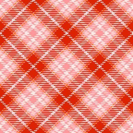 Red,White and Pink Tartan Plaid Scottish Seamless Pattern. Texture from tartan, plaid, tablecloths, shirts, clothes, dresses, bedding, blankets and other textile. Çizim