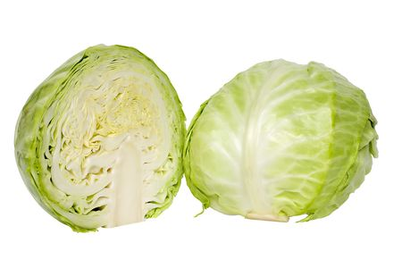 Fresh green cabbage on a cut on white background Stock Photo