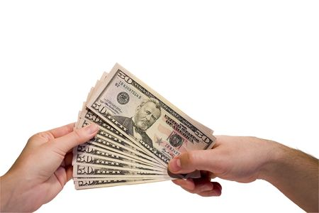 trade secret: Hands and money banknote on white background Stock Photo