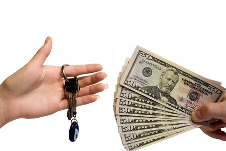 money exchange: Taking over the business, home or car. selling or buying. isolated on white background. Stock Photo