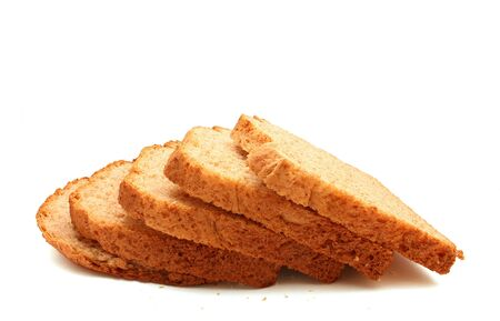 Bread slices isolated on white background Stock Photo