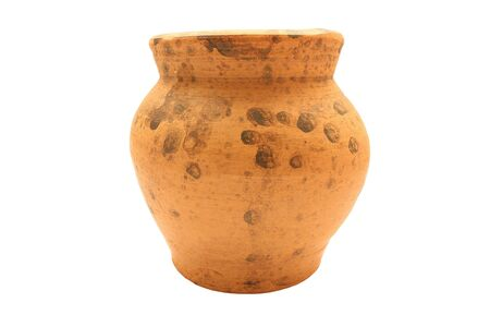 Clay pottery jug isolated on white background