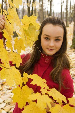 Schöne Mädchen Portrait im natürlichen Herbst im freien Standard-Bild - 5801971