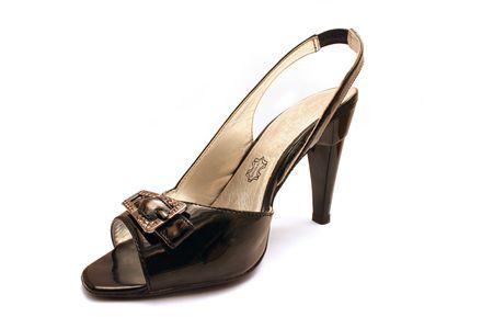 Black female shoe isolated on white