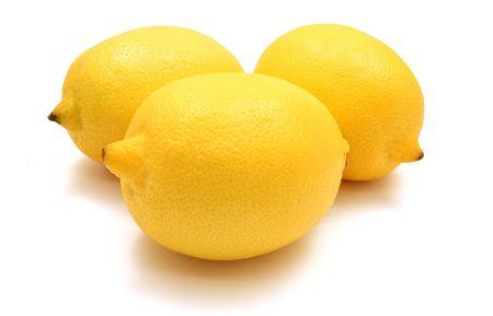 three lemons isolated on white background Stock Photo - 5848174