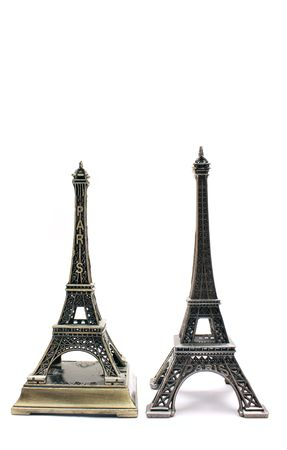 TWO EIFFEL TOWERS ISOLATED ON WHITE photo
