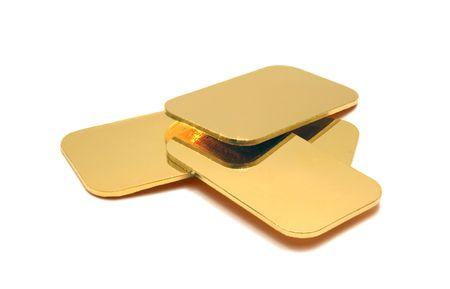 gold ingots isolated on white photo
