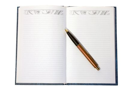 Notebook with pen isolated on white background