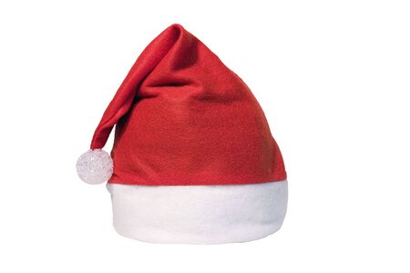 Red and white santa hat shot on a white background.