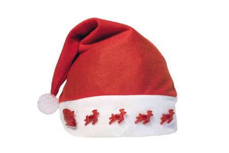 Red santa hat shot on a white background