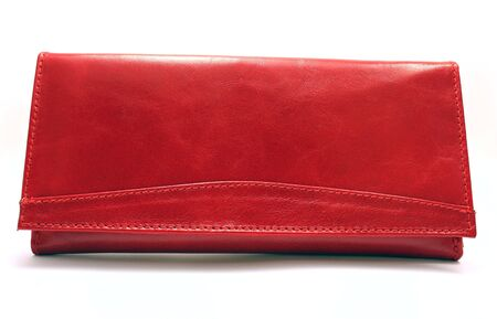 money packs: Female red purse isolated on white