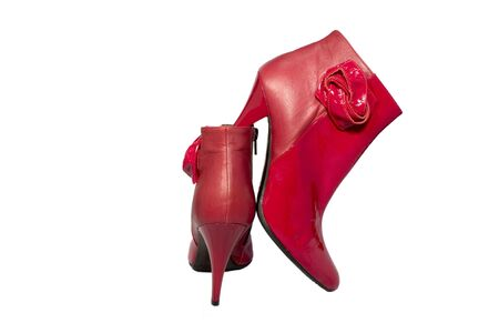 Red women ankle boots isolated on white background photo