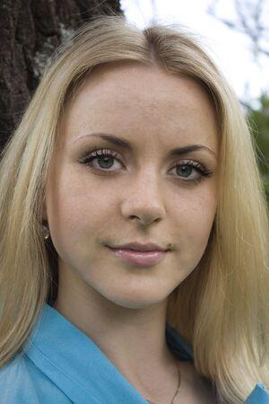 Portrait of beautiful blond woman close-up Stock Photo