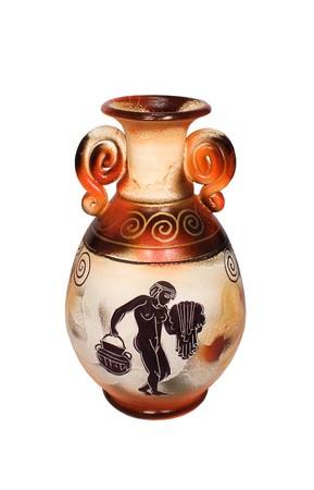 antique vase: Greek vase isolated on the white background