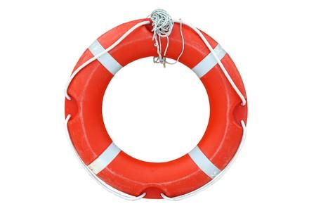 jangada: Una boya de anillo aislada sobre el fondo blanco