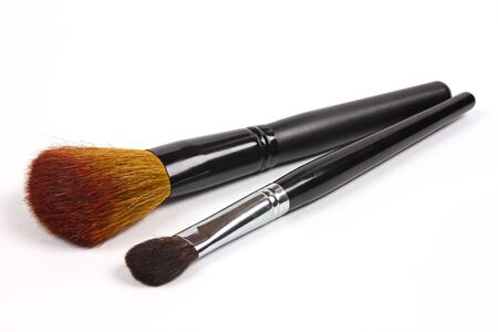 Professional makeup brushes isolated on white