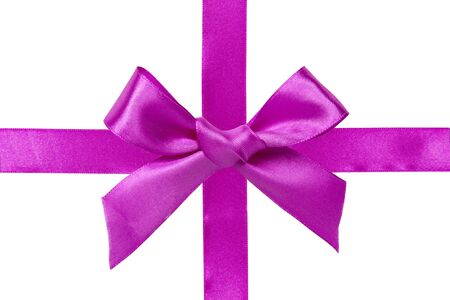 satin ribbon: Pink satin ribbon with bow isolated over white background