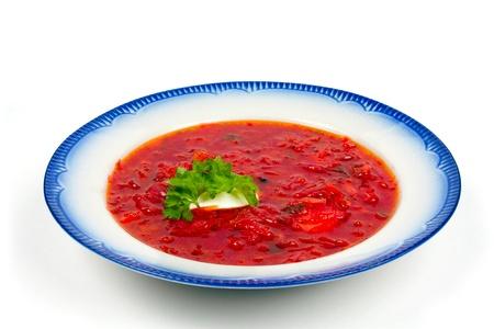 Borscht soup in traditional cuisine of Ukraine, Eastern Europe Stock Photo