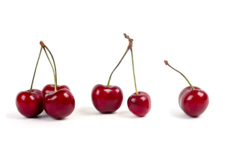 Red cherries isolated on a white background  Imagens
