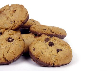 The famous American chocolate cookies isolated on white photo