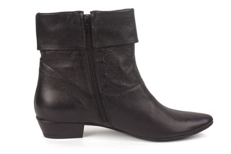 One black female boot isolated on white background Stock Photo