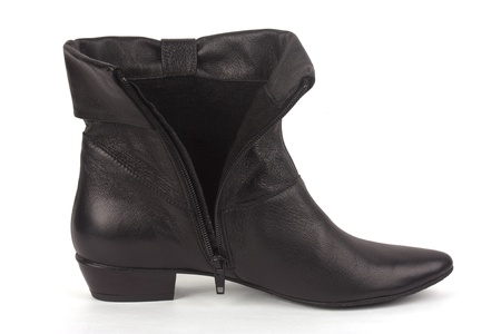 One short black boot on a white background